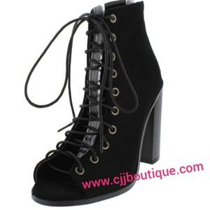 Black Open Toe Lace-Up Ankle Booties